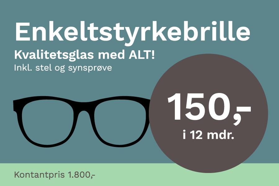 Enkeltstyrkebrille hos DinOptik til kun 1800 kr. inkl. kvalitet glas og stel
