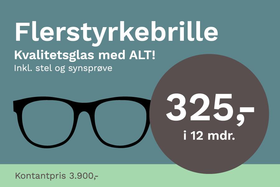 Flerstyrkebrille hos DinOptik til kun 3900 kr. inkl. kvalitet glas og stel